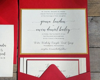 Gold and Red Wedding Invitation Suite, Wedding Invitation, Pocketfold Wedding Invitation, Elegant Script Calligraphy, Red Pocket Fold