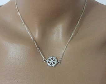 silver necklace snowflake,  925 sterling silver necklace, simple necklce, dainty necklace, charm necklace, gift for her