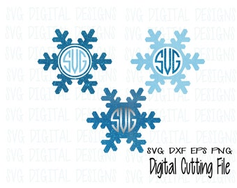 Snowflake SVG Monogram Frame svg set Electronic Die Cut, Clipart Digital Die Cutting files great for Silhouette & Cricut  Svg Dxf Eps Png