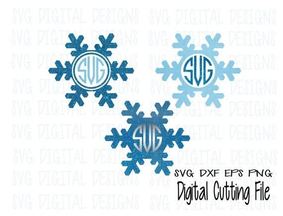 snowflake svg monogram frame svg set electronic die cut