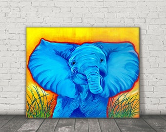 Elephant Art - Bright Elephant Print - Kids Room Decor - Elephant Pop Art - Baby Elephant Art - Elephant Lover Gift - Elephant Canvas