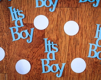 Blue and White It's a Boy Baby Shower Confetti