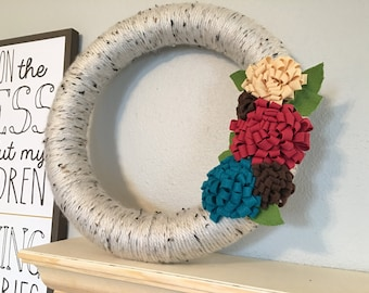 """Spring Floral Yarn Wreath-two sizes to choose from- 10"""" & 14"""""""