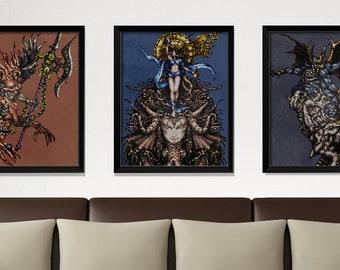 Final Fantasy 6, video game poster, Nintendo poster, geek print, classic game, pixel art