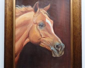 ARABIAN HORSE PORTRAIT, Original Oil Painting, Hand Painted , Horse Head, Equestrian art, Framed miniature oil painting