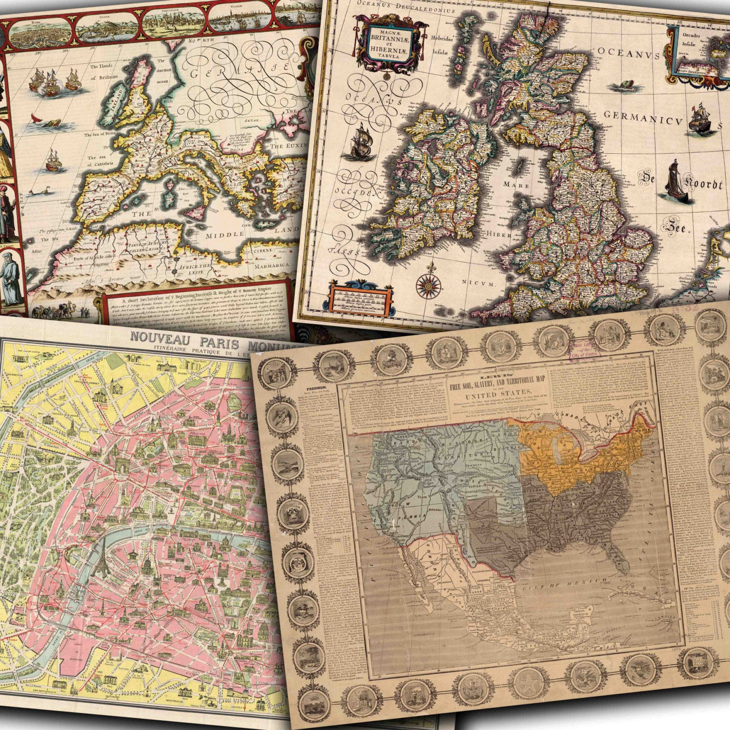 Vintage maps digital paper vintage and antique maps of europe this is a digital file gumiabroncs Image collections