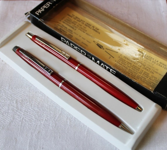 S papermate red barrel pen pencil set boxed