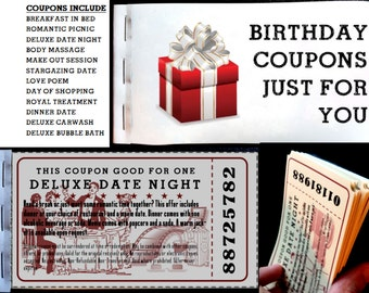 Birthday Love Coupons for Him or Her - Birthday Love Coupon Booklet Gift