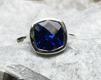 Sapphire Engagement Ring, Blue Sapphire Ring, Bezel Set Blue Sapphire Ring, Cushion Cut Blue Sapphire Ring