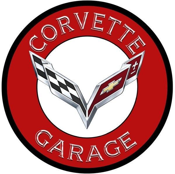 Corvette Signs Garage : C corvette garage red inch metal advertising sign powder