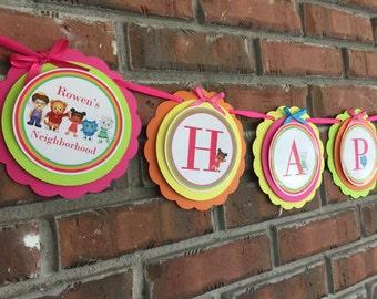 Daniel Tiger Happy Birthday banner. Daniel tiger birthday party. Daniel tiger party supplies. Daniel Tiger for party for girls.