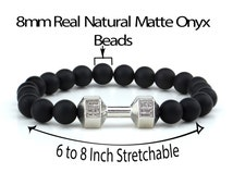 Natural Onyx Gemstone Bead Fitness Fit Life Dumbbell Stretchable Bracelet Fits All Men Women