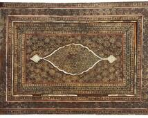 Antique Persian hand made qajar Khatamkari Marquetry calligraphy Mirror19th c. spiegel No:1