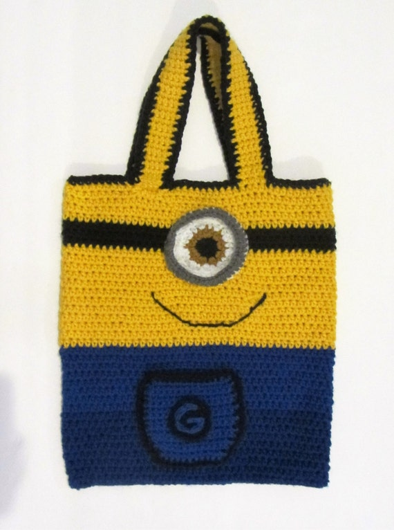 Crochet Minion Bag Pattern : Items similar to Crochet Minion Tote/Shoulder Bag/Made to ...