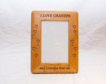 Personalized Photo Frame, Engraved Wood Frame Gift for grandpa, Custom Frame, grandpa Gift, grandpop Gift, 4x6 frame