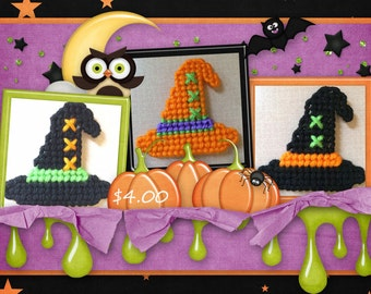 Plastic Canvas Set of 3 Witches Hat Magnets 1, 2, and 3