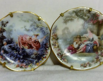 Two Limoge Mini Decorated Plates. Have Stands. Beautiful Painted Made in Limoge France