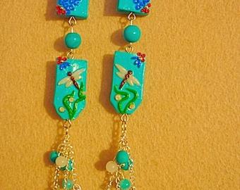 """long earrings """"Dragonfly"""" earrings with pendants, blue earrings"""