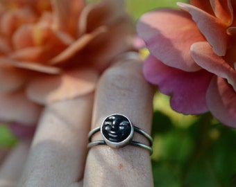 Thin double Band Sleeping Moon Ring | Made to Order