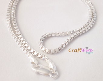 "925 Sterling Silver BOX Chain Necklace, ITALY 2.5mm 18"", 20"", 24"", 30"" New, Lobster Clasp, New and ready to wear"