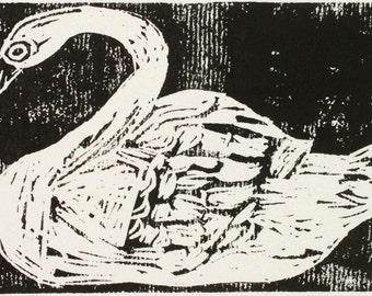 Elegant Swan and Red Mushroom Lino Print