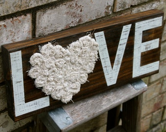 8x18  CUSTOMIZABLE Solid Wood Medium LOVE or HOME Sign with Fabric Rosettes, Hand-Made Flowers