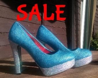 UK Size 6 Aqua Glitter and Diamante Heels