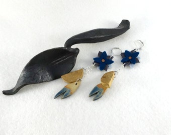 Long wooden earrings, sandstone and felted wool, leather and felted wool flowers, sandtsone and wooden charms blue
