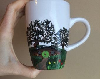 Hobbit mug, hobbit house, hobbit door, LOTR