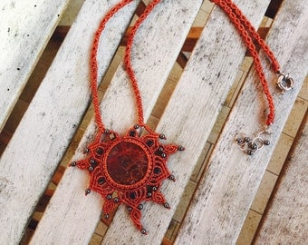 Macrame necklace with Mexican AGATE