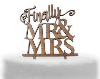Finally Mr&Mrs Acrylic / wooden  Cake topper Australian made in Melbourne