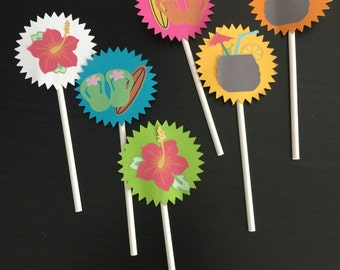 Hawaiian Party cupcake toppers set of 12