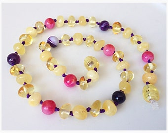 Baltic Amber & Gemstone Necklace