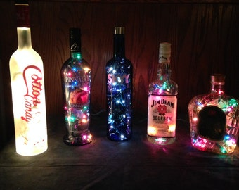 15.00 Assorted Lighted Wine And Liquor Bottles