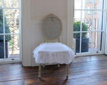 Ruffled Linen Seat Cover - Gorgeous and Romantic!  100% Stonewashed Linen