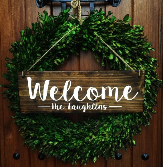 Welcome Sign Welcome Door Sign Front Door by TheWoodGrainHome