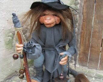 Gray posable OOAK art doll - troll - Pixie