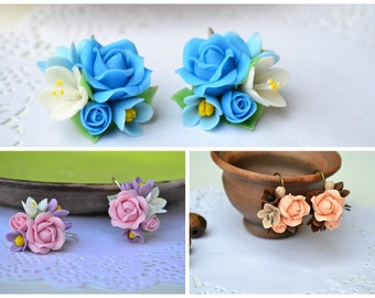 Clay Flower earrings Bride Bridal Bridesmaid gift earrings Pink Blue Red earrings Roses lilac earrings handmade Polymer clay rose earrings