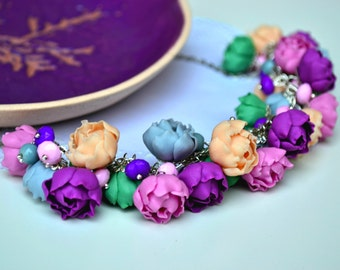 Bohemian flower necklace. Peonies necklace. Flower jewelry. Purple gray pink green necklace.