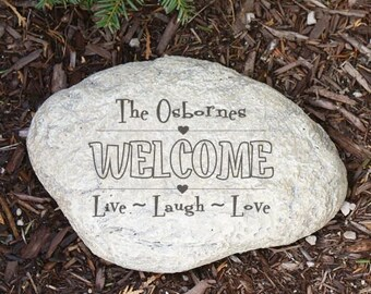 Personalized Live Laugh Love WELCOME Garden Stone LARGE Engraved Garden  Decorative Stone