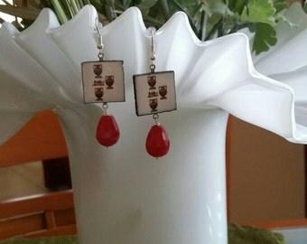 Tile earrings-earrings-Dangle Earrings-Sicily-Sicilian Cards stone earrings-red stone-pendants and charms