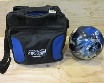 Vintage Ebonite Maxim Bowling Ball In Blue Black Pearl Swirls With Storm Solo Bowling Ball Bag