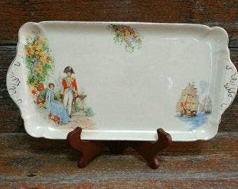 Vintage J&G Meakin Sunshine Ware Platter, Lord Nelson And Emma Vintage Plate, Vintage Relish Dish, Serving Platter