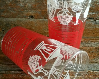 Vintage Dominion Juice Glass Set, Red Brick Patterned Glassware, Kitchen Kitsch, Vintage Juice Glasses, 1960s Glassware