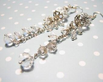 White earrings Bridal earrings Wedding earrings Bridesmaid earrings Crystal Wedding Earrings  Dangle earrings Wedding Jewelry Gift earrings