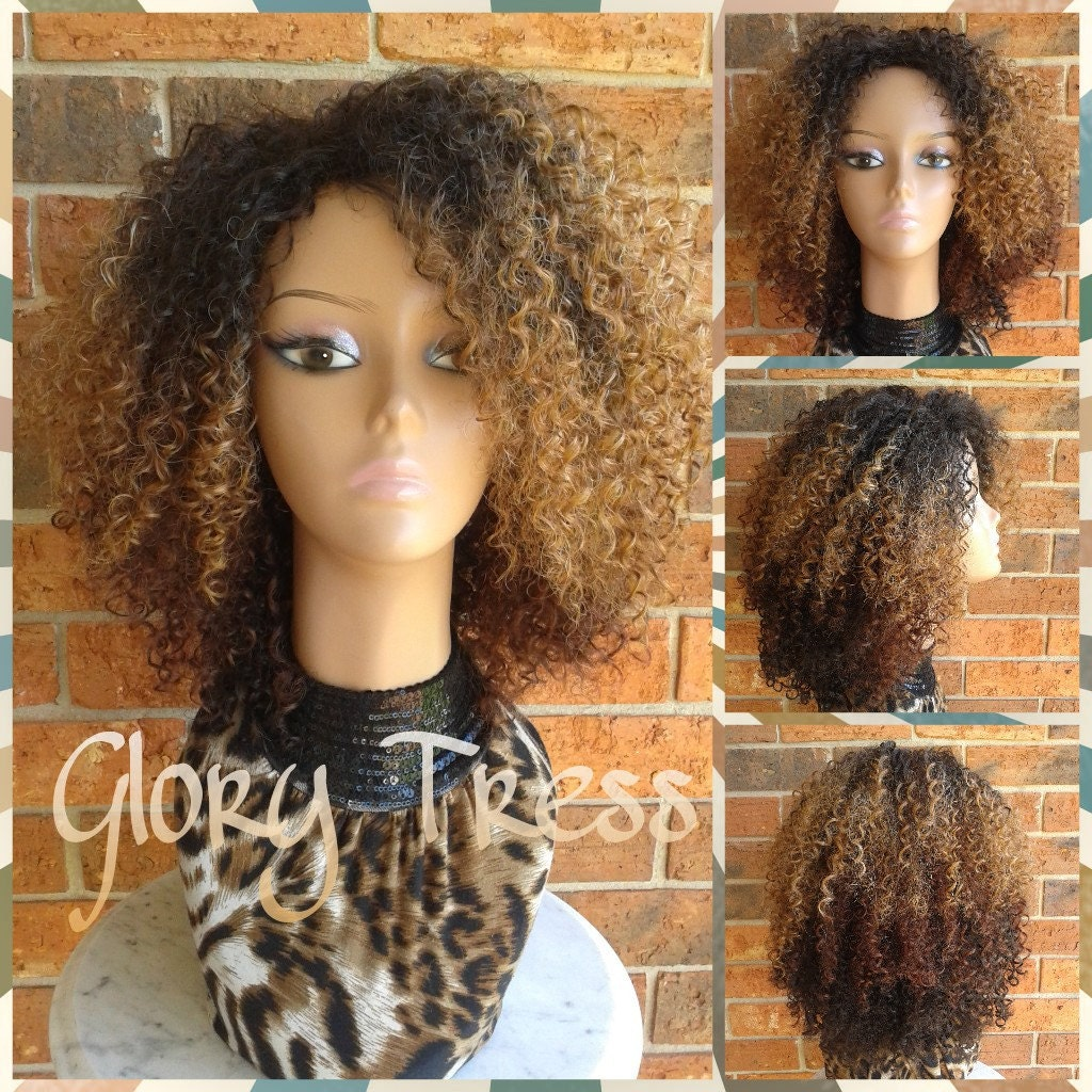 On Sale Kinky Curly Wig Short Curly Half Wig Big Natural