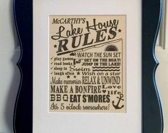 Lake House Rules, Canvas Print, Family Rules, Nautical Decor, Lake House Gift, New Lake House, Housewarming, Hostess Gift, Lake House Decor