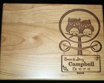 Custom Cutting Board Personalized Wedding cutting board , Engraved Laser engraved Wedding Gift with Owls Wedding Gift, Established Date