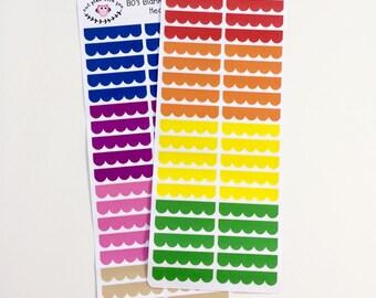 B03 || 80 Blank Scalloped Box Header Stickers