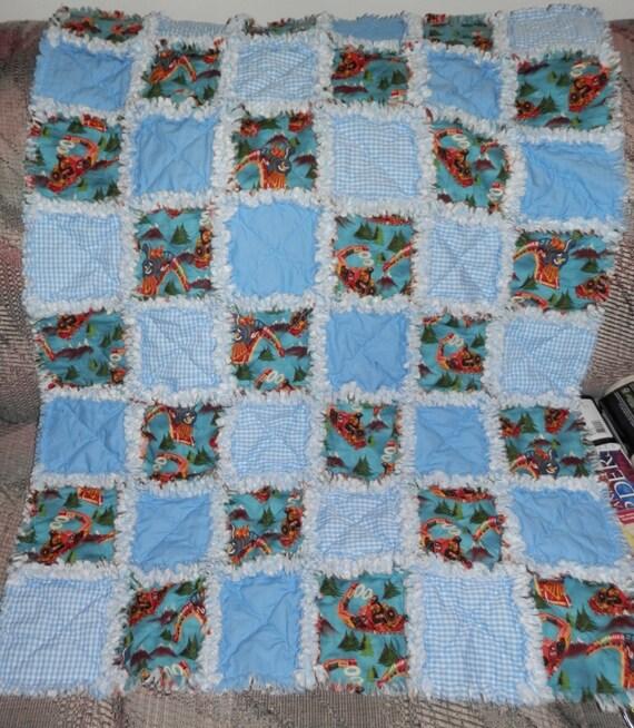 Baby Boy Rag Quilt Blue-Gingham-Choo Choo by BarbsWarmandCuddlies